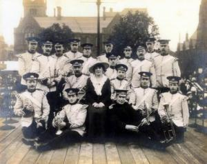 Silsden Town Band together with 'Lillian Dillingham', a noted singer of the day. (pictured here in ' Silsden's Town Hall Sq')