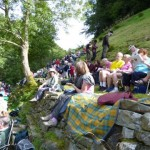 The audience grows larger and larger as the day progresses into beautiful sunshine