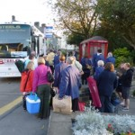 At the meeting place - 7:30am 9-9-12 loading up for the trip to the Hardraw Brass Band Contest